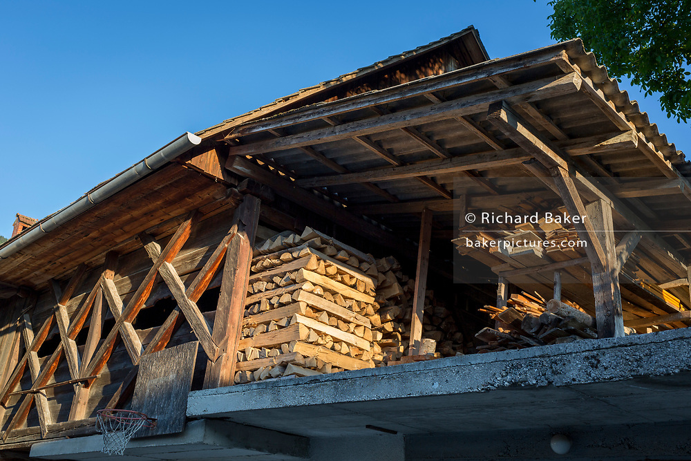 Logs and timbers in a traditional Slovenian barn in a rural village, on 19th June 2018, in Bohinjska Bela, Bled, Slovenia.