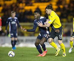 Falkirk's Botti Biabi and  Livingston Declan Gallagher.<br /> Livingston 0 v 1 Falkirk, Scottish Championship played13/12/2014 at The Energy Assets Arena.