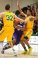 Great Danes guard Evan Singletary (0) drives to the hoop between Catamounts forward Ethan O'Day (32) and Catamounts guard Trae Bell-Haynes (2) during the men's basketball game between the Albany Great Danes and the Vermont Catamounts at Patrick Gym on Wednesday night January 28, 2015 in Burlington, Vermont. (BRIAN JENKINS, for the Free Press)