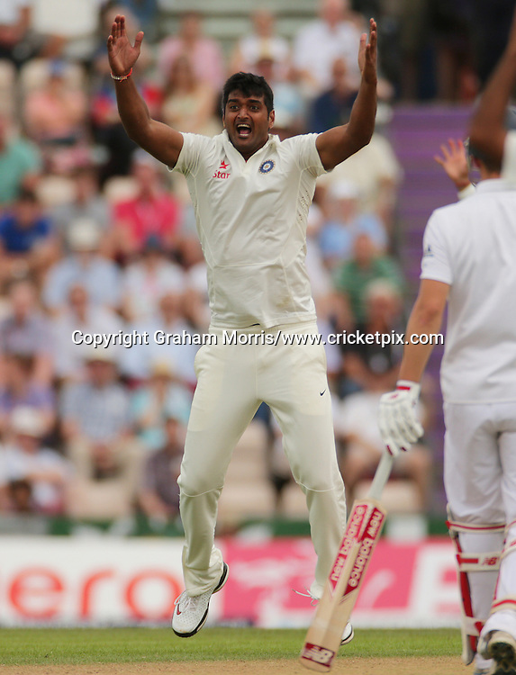 Bowler Pankaj Singh appeals in vain for the lbw of Ian Bell during the third Investec Test Match between England and India at the Ageas Bowl, Southampton. Photo: Graham Morris/www.cricketpix.com (Tel: +44 (0)20 8969 4192; Email: graham@cricketpix.com) 27/07/14