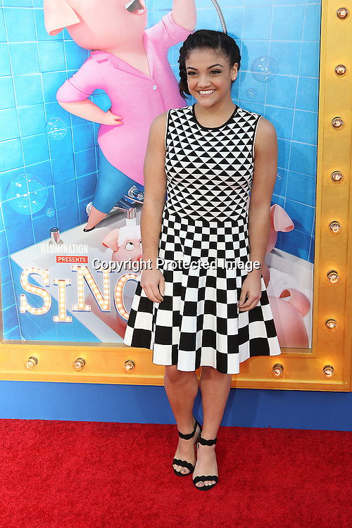 "Olympic American Gymnastic Laurie Hernandez attends Universal Studios world premiere ""Sing"" at Microsoft Theater at L.A. Live in Los Angeles, December 3, 2016"