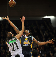 Antoine Tisby in the tip off, in  the NBL match, between the Otago Nuggets and Manawatu Jets, Lion Foundation Arena, Edgar Centre, Dunedin, Otago, New Zealand, Saturday, June 8, 2013. Credit: Joe Allison / Allison Images