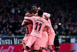 December 8, 2018 - Barcelona, BARCELONA, Spain - 10 Leo Messi of FC Barcelona celebrating his goal with the team during the Spanish championship La Liga football match between RCD Espanyol v FC Barcelona on December 08, 2018 at RCD Stadium stadium in Barcelona, Spain. (Credit Image: © AFP7 via ZUMA Wire)