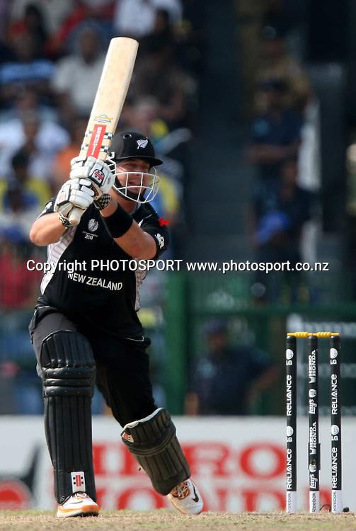 New Zealand batsman Jesse Ryder plays a shot against Sri Lanka during ICC Cricket World Cup - 1st Semi-Final New Zealand vs Sri Lanka Played at R Premadasa Stadium, Colombo, 29 March 2011 - day/night (50-over match)