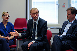 © Licensed to London News Pictures. 01/06/2017. London, UK.  Liberal Democrat Leader Tim Farron and LibDem Brexit Spokesman Nick Clegg visit hospital staff at Kingston Hospital.  Photo credit : Stephen Chung/LNP