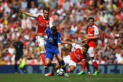 Kevin Mirallas of Everton under pressure from Aaron Ramsey of Arsenal and Alexis Sanchez of Arsenal - Mandatory by-line: Jason Brown/JMP - 21/05/2017 - FOOTBALL - Emirates Stadium - London, England - Arsenal v Everton - Premier League