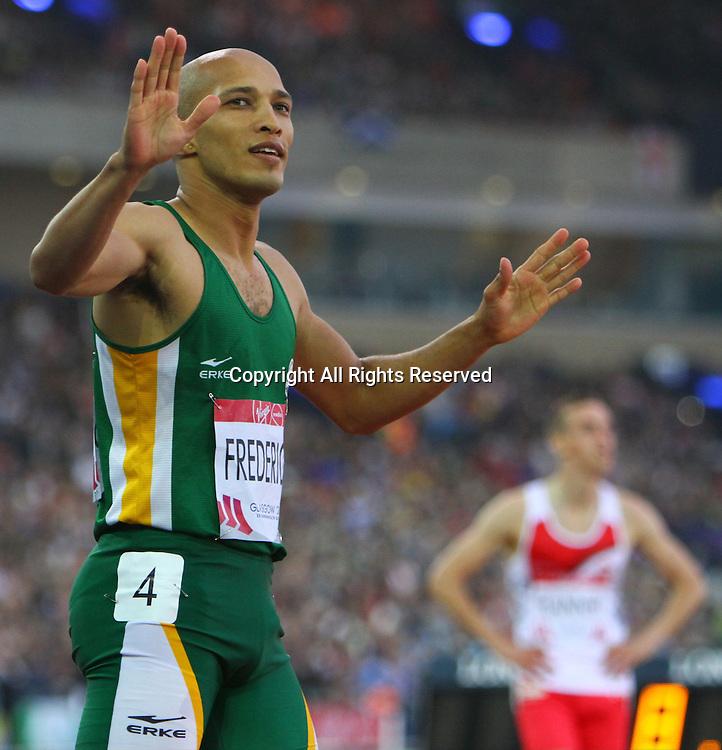 31.07.2014. Glasgow, Scotland. Glasgow Commonwealth Games. Men's 400m Hurdles final from Hampden Park. Cornel Fredericks of South Africa wins gold