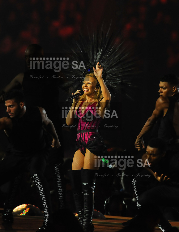 GLASGOW, SCOTLAND - AUGUST 03: Kylie Minogue during the closing ceremony of the 20th Commonwealth Games at Hampden Park on August 03, 2014 in Glasgow, Scotland. (Photo by Roger Sedres/Gallo Images)