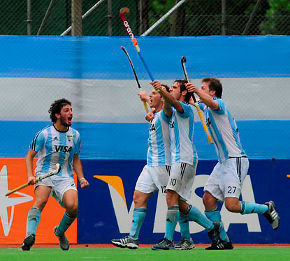 Celebration of Argentina´s third goal in the final match
