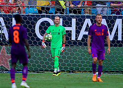 CHARLOTTE, USA - Sunday, July 22, 2018: Liverpool's goalkeeper Loris Karius looks dejected as Borussia Dortmund score a late second goal during a preseason International Champions Cup match between Borussia Dortmund and Liverpool FC at the  Bank of America Stadium. Borussia Dortmund won 3-1. (Pic by David Rawcliffe/Propaganda)