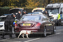 © Licensed to London News Pictures. 03/12/2019. London, UK. Sniffer dogs check vehicles as they arrive at Winfield House in Regents Park, London, where President Donald Trump is staying during the NATO leaders summit. Worlds leaders are due to attend a series of events over a two day NATO summit which will mark the 70th anniversary of the alliance of nations. Photo credit: Ben Cawthra/LNP