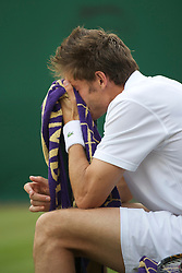 LONDON, ENGLAND - Thursday, June 24, 2010: Nicolas Mahut (FRA) looks knackered as he starts his Gentlemen's Doubles 1st Round match, after playing in the longest ever tennis match, on day four of the Wimbledon Lawn Tennis Championships at the All England Lawn Tennis and Croquet Club. (Pic by David Rawcliffe/Propaganda)
