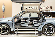 New York, NY, USA-23 March 2016. Lincoln showed its Navigator concept car, with fold-out steps and motorized lift doors.