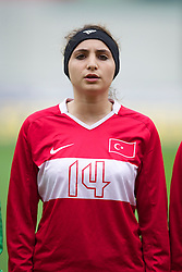LLANELLI, WALES - Thursday, March 31, 2011: Turkey's Elif Deniz lines-up before the UEFA European Women's Under-19 Championship Second Qualifying Round (Group 3) match against Iceland at Parc Y Scarlets. (Photo by David Rawcliffe/Propaganda)