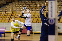 Neli Irman and Tamara Mavsar during practice session of Slovenian Women handball National Team three days before match against Serbia, on October 24, 2013 in Arena Tivoli, Ljubljana, Slovenia. (Photo by Vid Ponikvar / Sportida)