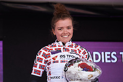 Susanne Andersen (NOR) wins the best placed Norwegian rider jersey at Ladies Tour of Norway 2018 Stage 3. A 154 km road race from Svinesund to Halden, Norway on August 19, 2018. Photo by Sean Robinson/velofocus.com