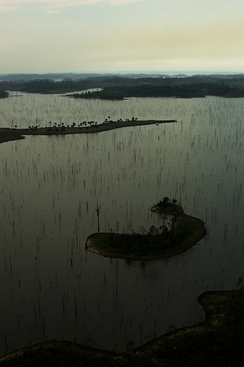 Trees inundated by the  Tucurui Hydroelectric Dam on the Tocantins River, Para State, Brazil.