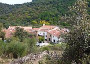 Small hamlet Los Madroneros near Alajar, Sierra Morena, Sierra Aracena, Huelva province, Spain
