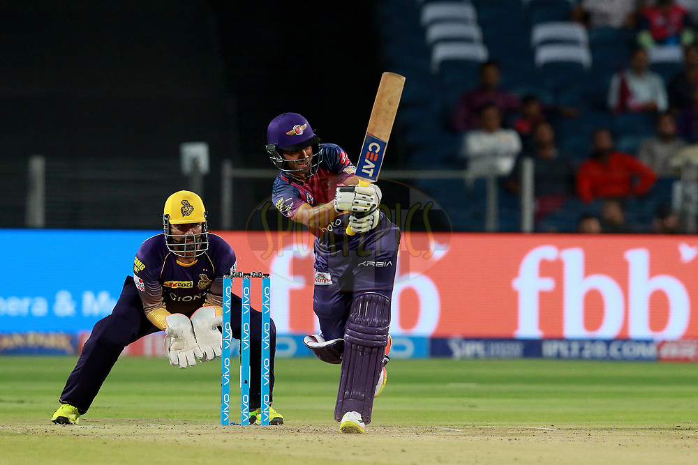 Ajinkya Rahane of RPS plays a shot during match 30 of the Vivo 2017 Indian Premier League between the Rising Pune Supergiants and the Kolkata Knight Riders  held at the MCA Pune International Cricket Stadium in Pune, India on the 26th April 2017<br /> <br /> Photo by Rahul Gulati - Sportzpics - IPL