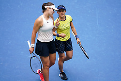 WUHAN, Sept. 28, 2018  Shuko Aoyama (R) of Japan and Lidziya Marozava of Belarus react during the doubles semifinal match against Elise Mertens of Belgium and Demi Schuurs of the Netherlands at the 2018 WTA Wuhan Open tennis tournament in Wuhan, central China's Hubei Province, on Sept. 28, 2018. Elise Mertens and Demi Schuurs won 2-1. (Credit Image: © Song Zhenping/Xinhua via ZUMA Wire)