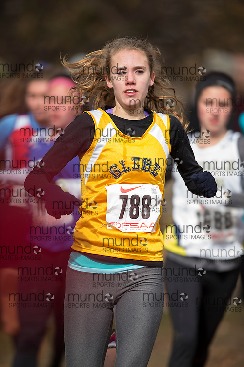 Alexa Livingstone of Glebe CI competes at the OFSAA Cross Country Championships in Waterloo Ontario, Saturday, November 1, 2014.<br /> Mundo Sport Images/ Geoff Robins