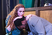 15/01/2014. Orangutan Productions presents Othello: The Moor of Venice, at Riverside Studios, London. Picture shows Gillian Saker (Desdemona) & Stephan Adegbola (Othello).