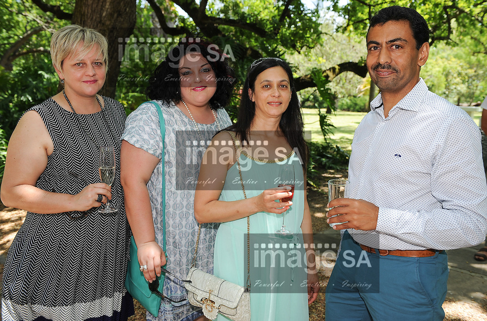 STELLENBOSCH, SOUTH AFRICA - Sunday 29 November 2015, Fiona Kritzinger, Hilandi du Toit, Evoudia and Denver Moses during the programme launch of the 2016 Klein Karoo Nasionale Kunstefees (KKNK) at the Nooitgedacht Estate in Stellenbosch. The KKNK takes place in Oudtshoorn from 24-30 March 2016.<br /> Photo by Roger Sedres/ ImageSA