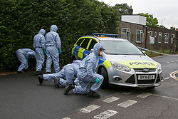 Crime scene investigators carries out the search on Waltheof Gardens in Tottenham, north London following a death of a woman at an address in Waltheof Gardens. Police were called around 10:45 am on 4 August 2019 where the body of an 89-year-old woman was found. According to the police one or more suspects gained entry to the woman's house between Saturday (3 August) evening and Sunday (4 August) morning.