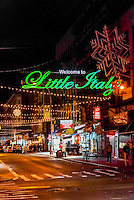 Mulberry Street in Little Italy at night, New York, New York USA.