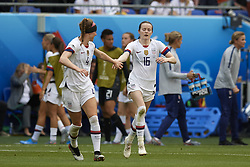 July 7, 2019 - Lyon, France - Rose Lavelle (Washington Spirit) of United States celebrates after scoring her sides first goal during the 2019 FIFA Women's World Cup France Final match between The United State of America and The Netherlands at Stade de Lyon on July 7, 2019 in Lyon, France. (Credit Image: © Jose Breton/NurPhoto via ZUMA Press)