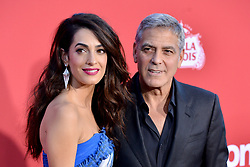 Hollywood star George Clooney was treated in hospital on Tuesday for minor injuries after a scooter accident in Sardinia, Italy on July 10, 2018 ------------ George Clooney, Amal Clooney attend the Premiere of Paramount Pictures' 'Suburbicon' at Regency Village Theatre on October 22, 2017 in Los Angeles, CA, USA. Photo by Lionel Hahn/ABACAPRESS.COM