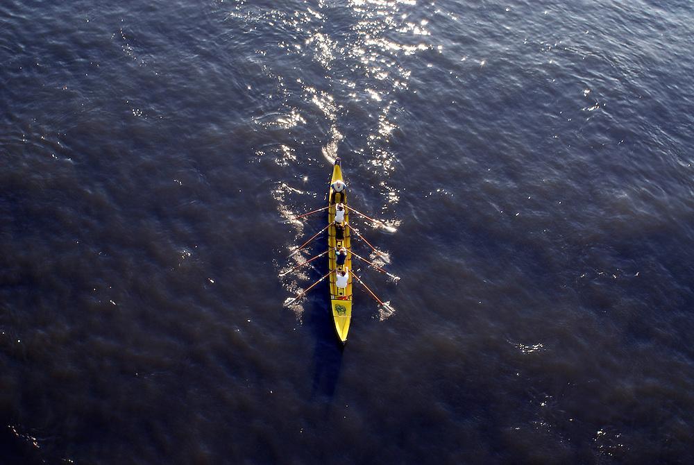 Ruderboot vierer mit Steuermann auf dem Rhen bei Koeln      row boat on the river Rhine - Rhein  Koeln, Cologne    