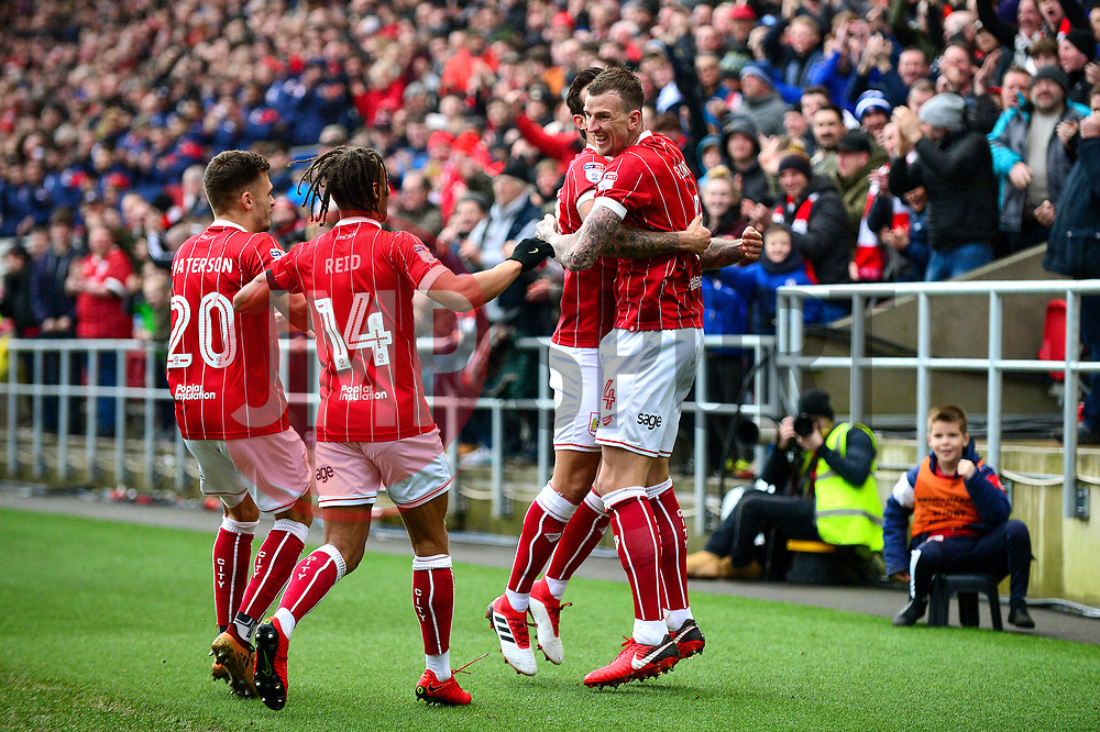 Aden Flint of Bristol City celebrates scoring a goal with team mates - Mandatory by-line: Dougie Allward/JMP - 10/02/2018 - FOOTBALL - Ashton Gate Stadium - Bristol, England - Bristol City v Sunderland - Sky Bet Championship