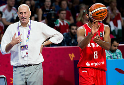 Stojan Ivkovic, head coach of Hungary and Adam Hanga of Hungary during basketball match between National Teams of Serbia and Hungary at Day 11 in Round of 16 of the FIBA EuroBasket 2017 at Sinan Erdem Dome in Istanbul, Turkey on September 10, 2017. Photo by Vid Ponikvar / Sportida