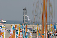 American yacht, BMW Oracle Racing, sails toward America's Port after competing in an afternoon of fleet racing; Valencia, Spain.