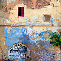 A Vintage Bicycle Sits Against A Colorful Wall in Jodhpur, Rajasthan, India