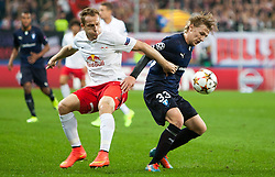 19.08.2014, Red Bull Arena, Salzburg, AUT, UEFA CL, FC Red Bull Salzburg vs Malmö FF, Play Off, Hinspiel, im Bild v.l.: Christian Schwegler (FC Red Bull Salzburg), Emil Forsberg (Malmoe FF) // during the UEFA Championsleague 1st Leg, Play Off Match between FC Red Bull Salzburg and Malmoe FF at the Red Bull Arena in Salzburg, Austria on 2014/08/19. EXPA Pictures © 2014, PhotoCredit: EXPA/ JFK