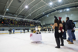 Medal ceremony during 5th game of final INL league ice hockey match between HK Playboy Slavija and EHC Bregenwald at Dvorana Zalog, on April 3, 2013, in Ljubljana, Slovenia. (Photo by Matic Klansek Velej / Sportida)