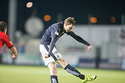 Falkirk's Blair Alston scoring their first goal. <br /> Falkirk 3 v 2 Rangers, Scottish Championship game player at The Falkirk Stadium, 18/3/2016.