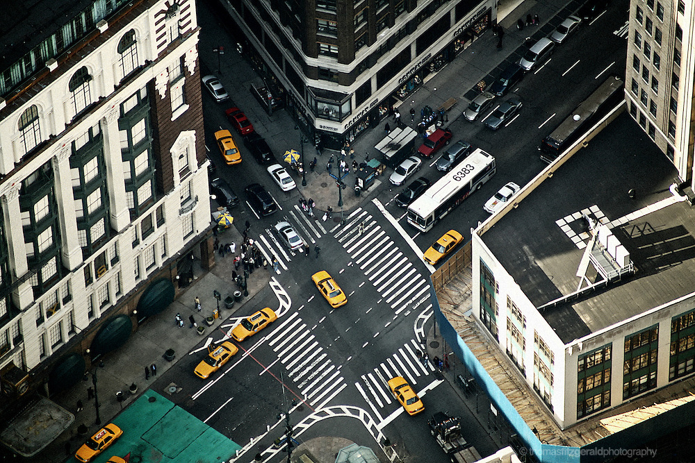 An arial shot of a busy interchange on Broadway,, New York City.