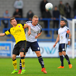 TELFORD COPYRIGHT MIKE SHERIDAN 13/10/2018 - Jon Royle of AFC Telford battles for a header with Elliot Newby (formerly of AFC Telford) during the Vanarama National League North fixture between AFC Telford United and Chorley