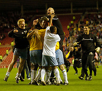 Photo. Glyn Thomas, Digitalsport<br /> NORWAY ONLY<br /> <br /> Sunderland v Crystal Palace. <br /> Division 1 Playoffs, second leg. 17/05/2004.<br /> Crystal Palace's Michael Hughes is mobbed by teammates after his penalty saw his side into the final.