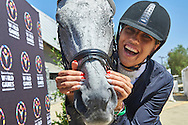 SO Poland athlete Marta Borowska with horse called Sinatra pose to picture while equestrian competition during eighth day of the Special Olympics World Games Los Angeles 2015 on August 1, 2015 at Equestrian Centre Riverside Drive Burbank in Los Angeles, USA.<br /> USA, Los Angeles, August 1, 2015<br /> <br /> Picture also available in RAW (NEF) or TIFF format on special request.<br /> <br /> For editorial use only. Any commercial or promotional use requires permission.<br /> <br /> Adam Nurkiewicz declares that he has no rights to the image of people at the photographs of his authorship.<br /> <br /> Mandatory credit:<br /> Photo by © Adam Nurkiewicz / Mediasport