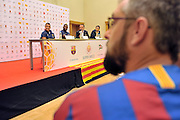 (L) Alexis Alejandro Sanchez and (R) Alex Song both from Barcelona while press conference in The Polish Baltic Frederic Chopin Philharmonic in Gdansk, Poland.<br /> A few hours before friendly match between Lechia Gdansk and FC Barcelona.<br /> <br /> Poland, Gdansk, July 30, 2013<br /> <br /> Picture also available in RAW (NEF) or TIFF format on special request.<br /> <br /> For editorial use only. Any commercial or promotional use requires permission.<br /> <br /> Photo by &copy; Adam Nurkiewicz / Mediasport