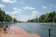 "Henley on Thames, United Kingdom, 3rd July 2018, Sunday,  ""Henley Royal Regatta"",  The Double Sculls Challenge Cup, Final, view from the Umpire's Launch, View, Henley Reach, River Thames, Thames Valley, England, UK."