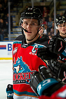 KELOWNA, BC - NOVEMBER 1:  Nolan Foote #29 of the Kelowna Rockets celebrates a goal with fist bumps along the bench as his first game as captain against the Prince George Cougars at Prospera Place on November 1, 2019 in Kelowna, Canada. (Photo by Marissa Baecker/Shoot the Breeze)
