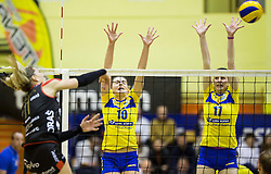 Ana Starcevic of Nova KBM Branik vs Sara Valencic of Luka Koper and Tina Kaker of Luka Koper during volleyball match between Nova KBM Branik Maribor and OK Luka Koper in Final of Women Slovenian Cup 2014/15, on January 18, 2015 in Sempeter v Savinjski dolini, Slovenia. Photo by Vid Ponikvar / Sportida