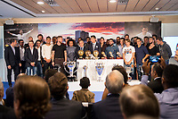 Real Madrid CF pose during the tribute to Cristiano Ronaldo by Real Madrid CF on the occasion of his new record by being the top scorer in the club's history at Santiago Bernabeu Stadium in Madrid, October 02, 2015.<br /> (ALTERPHOTOS/BorjaB.Hojas)