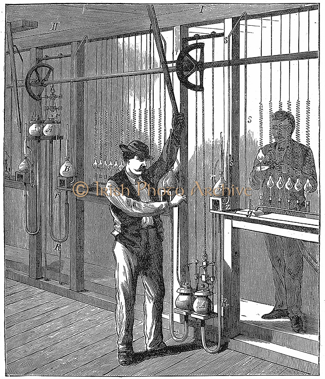 Mercury vacuum pump being used to evacuate (exhaust) light bulbs on commercial scale c1883. Pump here is Geissler's as modified by Topler and was type used by the Swan Company.  From R. Wormell 'Electricity in the Service of Man' London 1896. Engraving