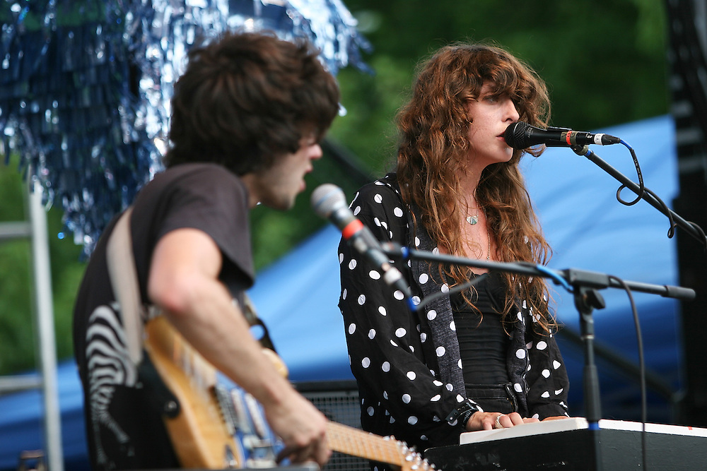CHICAGO - JULY 18:  Alex Scally and Victoria Legrand of Beach House performs onstage during the 2010 Pitchfork Music Festival at Union Park on July 18, 2010 in Chicago, Illinois.  (Photo by Roger Kisby/Getty Images)